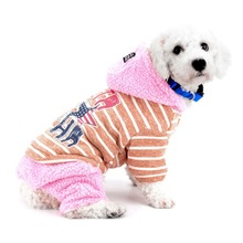 New Striped Dog Jumpsuit Boy Girl Pet Winter Coat Yorkie Snowsuit Hooded Outfits Chihuahua Hoodies