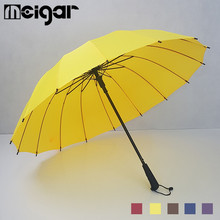 Auto Open Golf Umbrella Strong Windproof Outdoor Long Handle Umbrellas Rainy Parasol 16 Ribs Paraguas For Women Men 5 Colors(China)