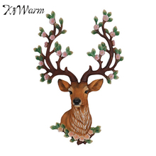 KiWarm Cute 1PC Resin Mini Exotic 3D Art Animal Deer Head Stags Flowering Antlers Ornament Home Decoration Delicate Stuff Gift(China)