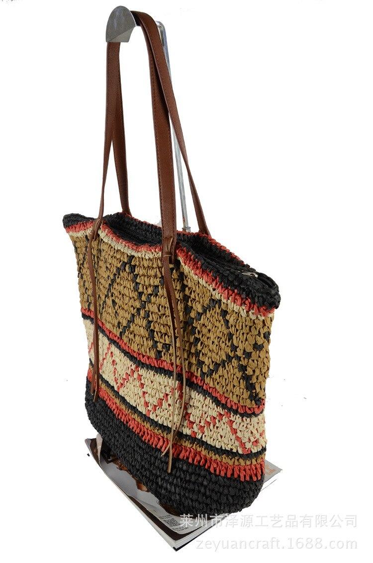 Women Straw Bag Bohemian Female Summer Large Beach Vintage Woven Handbag Lady Shopping Shoulder Bags Travel Casual Tote SS3056 (1)