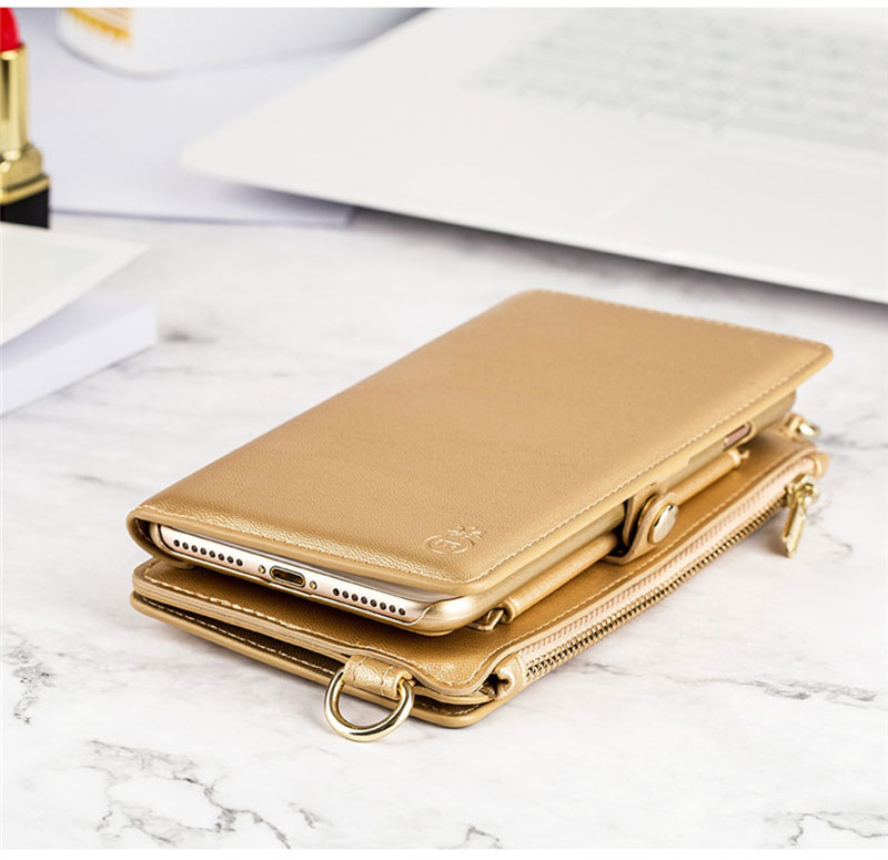 4 in 1 Leather Wallet Bag Case for iPhone X 6 6s 7 8 Plus Detachable Phone Cover Card Slot Girl Women Shoulder Bag Handbag Pouch (14)