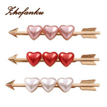 Goody Style Traditional Hair Accessories Enamel Three Heart Cupids' Arrow Hair Bobby Pins(China)