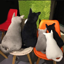 Soft Cat Back Stuffed Cushion Pillow Back of Car Plush Sofa Decorative Throw Pillow Doll Toy Household Gift(China)