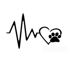 17.8*11.5CM Heart Beat Paw JDM Funny Vinyl Decal Car Window Bumper Decoration Stickers Black/Silver C6-1051(China)