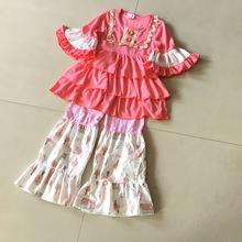 Summer and Fall 100%cotton Classics style ruffles 3/4 sleeves style Baby Girls Dress Apparel Accessory kids's birthday present(China)