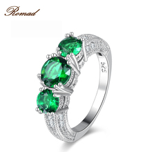 Romad Gold-Color Elegant Jewelry Cubic Zirconia Austrian Crystal Full Size Wholesale  Green Crystal Green Ring