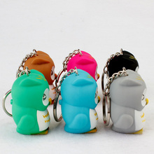 Cute Owl Led Key Chain Torch Make Sound and Light Cartoon Owl Hooking Key Rings Girl Friend Gift Kid Toys send by Random