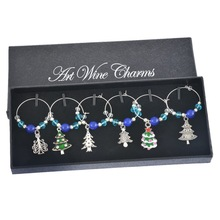Hoomall 1Box Wine Charms Blue Beads Crystal Christmas Tree Enamel Pendant Christmas Dinner Table Decoration Party Decor Supplies(China)
