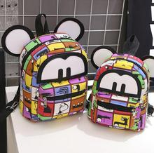 kindergarten backpack 3D cat bags Mickey Mouse backpack bag big ears child cute cartoon small Backpack lovely women Emoji bag(China)