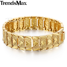 Trendsmax Romantic Womens Girls Ladies Frosted Cut Heart Love Link Yellow Gold Filled Bracelet Bangle 16mm Wide 20cm GB389(Hong Kong)