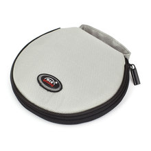 UXCELL Round Shaped 20 Slots Cd Discs Zipper Closure Holder Bag Wallet Gray