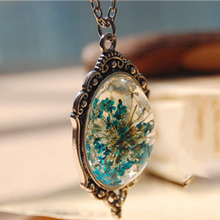 1 pcs Hotsale blue and red original natural dried flowers Small pure and fresh and pendant necklace(China)