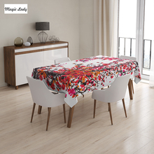 Flower Table Cloth Japanese Cherry Blossoms Watercolor Brush Style Vibrant Artwork Decor Red Orange 145x120 cm / 145x180 cm
