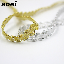 Buy 8mm 10yards/lot Knitted Gold Silver Lace Trims Ribbon Tape DIY Wedding Scrapbook Crafts Handmade Patchwork Clothing Accessories for $1.14 in AliExpress store