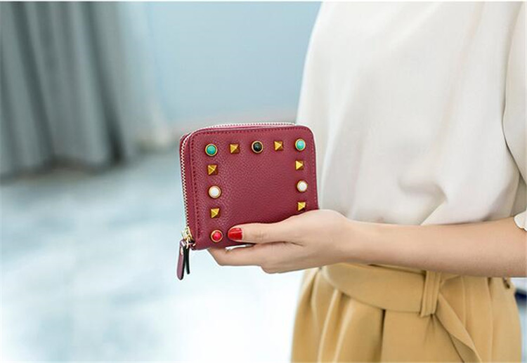MJ Women Wallets Fashion Colorful Rivets PU Leather Zipper Coin Purse Card Holder Short Wallet with Chain Shoulder Strap (46)
