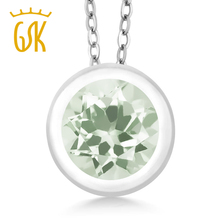 GemStoneKing 0.95 Ct Round Natural Green Amethyst Fine Jewelry 925 Sterling Silver Gemstone Pendant Necklace For Women(China)