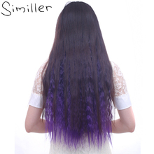 "Similler 24"" Women Clip In One Piece Ombre Color Long Kinky Curly Synthetic Hair Extensions Heat Resistant 120g"