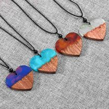 1 pc New Arrive Unique Long heart pendant Chocker Handmade Heart Resin Wooden Necklaces Pendants Wholesale Jewelry For Women(China)
