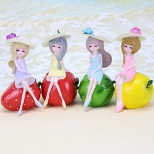 Resin Fruit Girl Figurines Birthday Gift Creative Artware Office Ornaments Fashion Girl Home Decor 1 Piece(China)