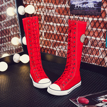 Plus szie 35-43 2019 Fashion Women Shoes Canvas Lace Zip Knee High Shoes Women Flat Casual Tall Punk Shoes MA-68