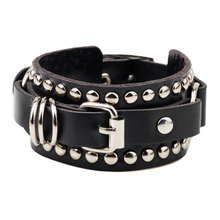 2017 New Fashion Casual gothic Punk Style rivet buckle belt PU Leather Bracelets Bangles for Women. Charm Wristband wrap bangle(China)