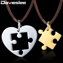 Davieslee Puzzle Heart Love Mens Pendant Necklace Chain Fabric Brown Chain Stainless Steel Gold Silver Black Tone DKPM41A(China)