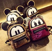 Super 3D Cat Ears sequins bags Backpack Mickey Mouse Backpack Bag Cute Cartoon Lovely Emoji mini Shoulder Bag Backpack(China)