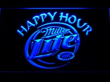 605 Miller Lite Happy Hour Beer Bar LED Neon Sign with On/Off Switch 7 Colors 4 Sizes to choose