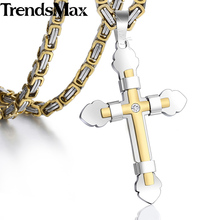 Trendsmax Pendant Necklace Gold Silver Black Color Cross w Rhinestone Steel Byzantine Chain Men Women Christian Jewelry KF10(Hong Kong)