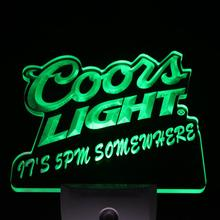 ws0011 Coors Light 5pm Somewhere Bar Beer Decor Day/ Night Sensor LED Night Light  Sign