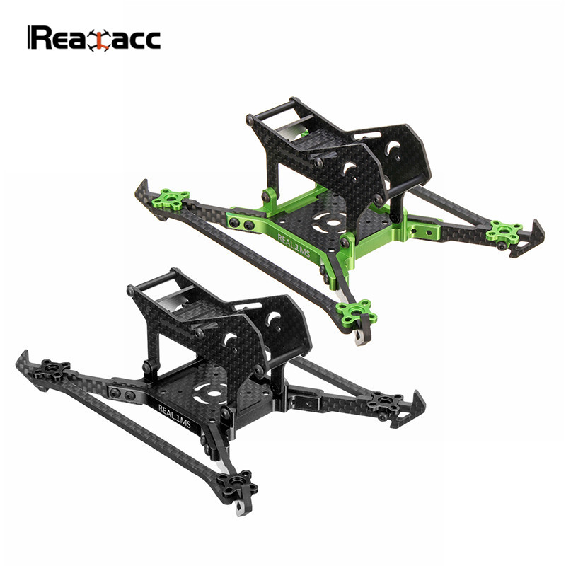 Realacc Real1MS 140mm 3 Inch Stretch Carbon Fiber 3mm Vertical Arm Frame Kit for RC Models Multicopter Camera Motor Black Green<br>