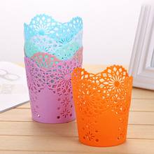 1 PCS Candy Color Hollow Flower Pencil Holder Plastic Pen Holder Makeup Brush Multifunctional Storage School & Office Stationery(China)