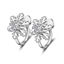 Women Lovely Zircon Snowflake Ear Clip No Piercing Stud Cuff Earrings Jewelry