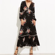 Buy New 2017 Autumn Women Dress Fashion Vintage Floral Print Maxi Long Dresses Sexy Long Sleeve V Neck Loose Casual Vestidos for $14.70 in AliExpress store