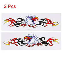 X Autohaux 2Pcs Eagle Head Fire Flame  Adhesive Car Exterior Sticker Decor Auto Decal