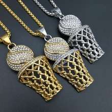 New Fashion Bling Full Rhinestone Men Basketball Pendants Necklaces Stainless Steel Necklace For Men Jewelry(China)