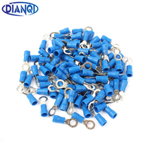 DIANQI RV2-5 Blue Ring Insulated Wire Connector Electrical Crimp Terminal Cable Connector Wire Connector 100PCS/Pack RV2.5-5 RV