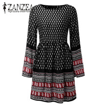 2017 ZANZEA Women O Neck Long Flare Sleeve Boho Floral Print Zipper Autumn Loose Casual Party Mini Shift Dress Vestido Plus Size