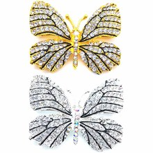High Quality Fashionable Rhinestone Butterfly Hats Suit Clips Hijab Pins Dress Wedding Bridal Brooch Pin for Women(China)