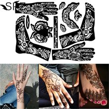 1 Sheet Henna Tattoo Templates Hands Feet Leg Arm Airbrushing Tattooing Templates Professional Temporary Mehndi Body Painting(China)