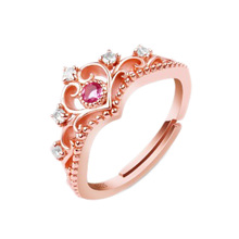 2017 New Arrival Anillos Wholesale Rose Gold Color Round Cut Cubic Zirconia Fashion Crown Open Rings For Women Jewelry