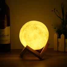 13cm Novelty 3D Full Moon Lamp LED Night Light Color Changing Desk Table Light Home Decor USB Rechargeable(China)