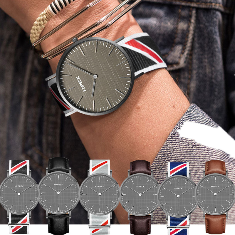 KOPECK Top Brand Luxury Modern Quartz watch men Stylish Black Japan quartz-watch leather mesh canvas ultra thin clock male New<br>