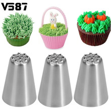 3Pcs/Set Stainless Steel Grass Icing Piping Nozzles Christmas Cupcake Mousse Cake Decorating Tips Kitchen DIY Baking Tools Kit(China)