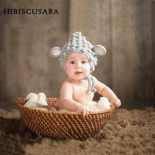 Newborn Baby Winter Hat Adorable Sheep Lamb Design Bebe Knitted Crochet Cap Bonnet Infant Beanie Photo Props Accessories(China)