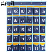 30 Pockets Numbered Classroom Cell Phones Organizer Pockets Chart Calculator Holder Hook Home Office Storage Tools Accessories(China)
