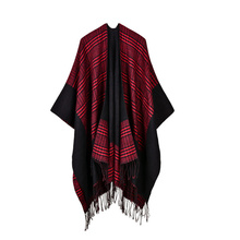 AIEnny Women Plaid Scarf Sweater Tassel Open Stitch Scottish Style Shawl Female 2017 New Fashion Autumn Winter Sweaters