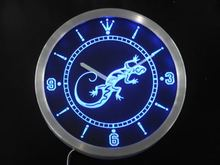 nc0414 Gecko Lizard Display D?cor Bar Beer Neon Sign LED Wall Clock