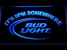 094 Bud Light It's 5 pm Somewhere Bar LED Neon Sign with On/Off Switch 7 Colors 4 Sizes to choose