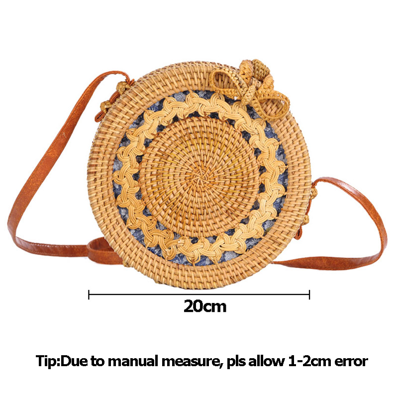 Women Straw Bags Female Round Beach Bag Knitted Lady Bohemian Vintage Rattan Shoulder Bag Handmade INS Popular Weave Bag SS3125 (10)